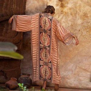 Nightbird Moroccan Cotton Elegant Kimono Duster